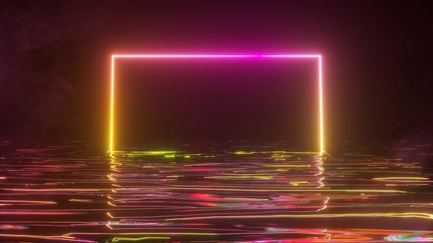Ein heller neonrahmen schimmert mit einem neonlichtspektrum im wasser. rauchiger hintergrund. 3d-illustration