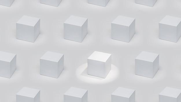 Ein herausragendes weißes kubisches podest in der akzentbeleuchtung unter den podesten in der gleichen beleuchtung