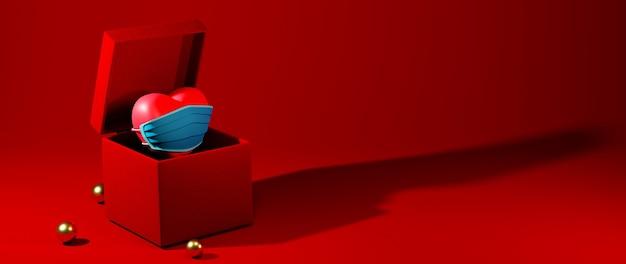 Ein herz mit einer maske in einer box auf rotem hintergrund feierkonzept für glückliche frauen, papa mutter, süßes herz,