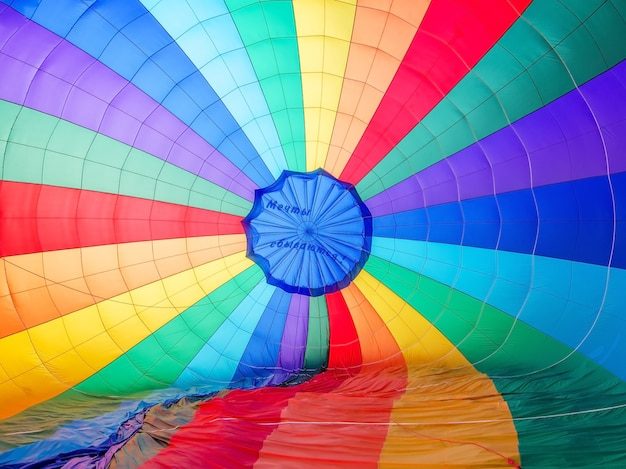 Ein hintergrund mit einer abstrakten ansicht eines bunten fallschirms.