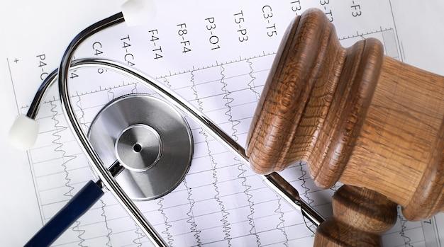 Ein hölzerner richterhammer und ein stethoskop auf der medizinischen karte. medizinisches streitkonzept.