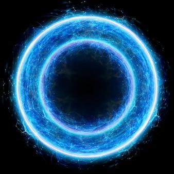 Ein hologramm eines weiblichen eies auf schwarzem hintergrund isoliert. schwangerschaft, unfruchtbarkeitsbehandlung, mutterschaft. 3d-darstellung, 3d-rendering.