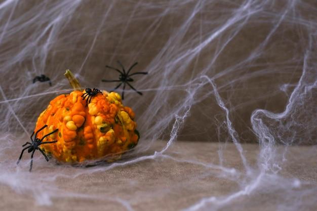 Ein holpriger kürbis neben schwarzen spinnen
