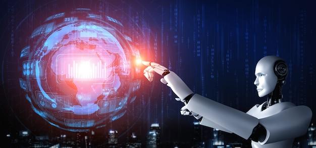 Ein humanoider ki-roboter, der den virtuellen hologrammbildschirm berührt und das konzept der big-data-analyse zeigt