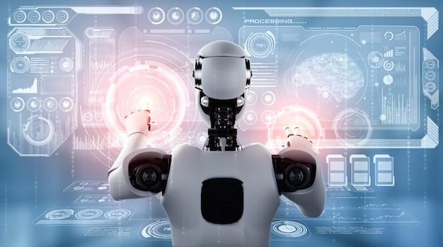 Ein humanoider ki-roboter, der den virtuellen hologrammbildschirm berührt und das konzept von big data zeigt