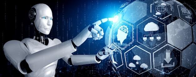 Ein humanoider roboter, der den hologrammbildschirm berührt, zeigt das konzept der globalen kommunikation