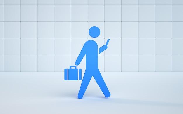 Ein illustrationsmodell, das mit einem koffer zur arbeit geht