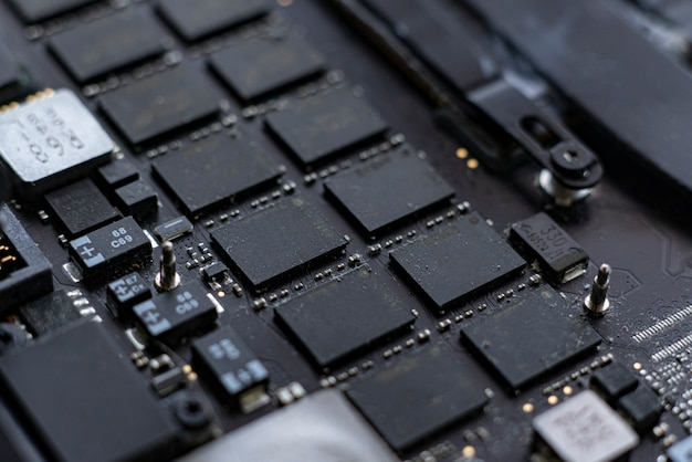 Ein inneres des modernen neuen computers, ein makro einer platine, abstraktes konzept