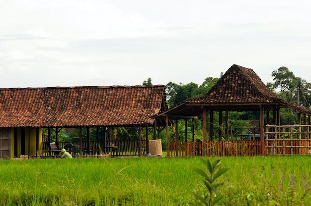 Ein joglo-haus ist ein traditionelles haus aus zentral-java, indonesien Premium Fotos