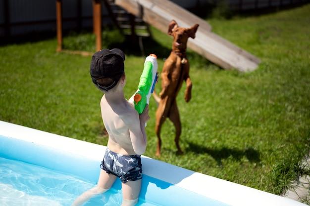 Ein junge im pool spielt mit einer wasserpistole schießt einen wasserstrahl auf den hund, den der hund fängt