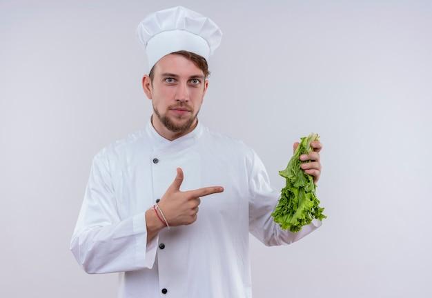 Ein junger bärtiger kochmann, der weiße kochuniform und hut trägt, zeigt auf grünen blattsalat mit zeigefinger, während auf einer weißen wand schauend