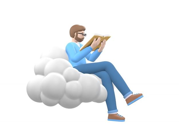 Ein junger fröhlicher kerl mit einem bart in gläsern am himmel auf einer wolke liest ein buch