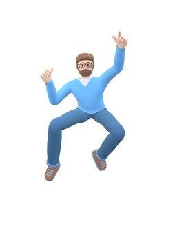 Ein junger fröhlicher mann mit bart in brille tanzt, springt, schwebt und fliegt