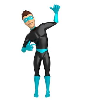 Ein junger lächelnder mann in einem superheldenkostüm gibt vor, in seiner hand zu halten