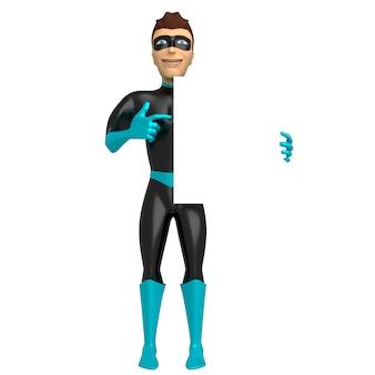 Ein junger lächelnder mann in einem superheldenkostüm hält in seiner hand und zeigt mit der anderen hand auf ein leeres schild. 3d-illustration