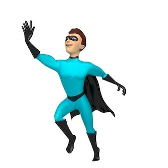Ein junger mann in einem superheldenkostüm im flug.