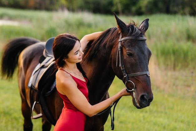 Ein junges hübsches mädchen in einem roten kleid posiert auf einer ranch mit einem vollbluthengst bei sonnenuntergang. liebe und fürsorge für tiere.