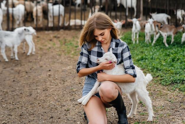 Ein junges hübsches mädchen posiert auf einer ranch mit ziegen und anderen tieren. landwirtschaft, viehzucht.