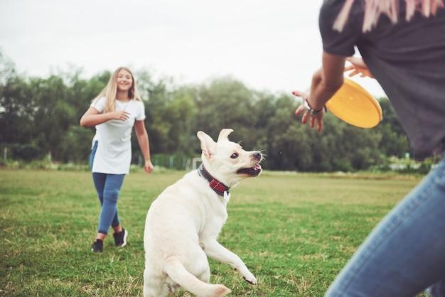 Ein junges lächelndes mädchen mit einem glücklichen glücklichen ausdruck spielt mit ihrem geliebten hund.