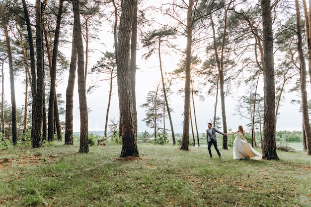 Ein junges paar von bräuten, die im kiefernwald gehen
