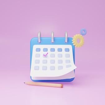Ein kalendersymbol mit einem häkchen. 3d-webillustrationen