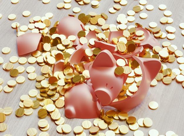 Ein kaputtes sparschwein voller dollarmünzen. geschäfts- und finanzkonzept. 3d-rendering-abbildung
