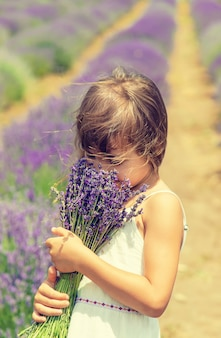 Ein kind auf einem blühenden gebiet des lavendels.