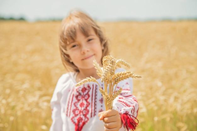 Ein kind auf einem gebiet des weizens in einem gestickten hemd.