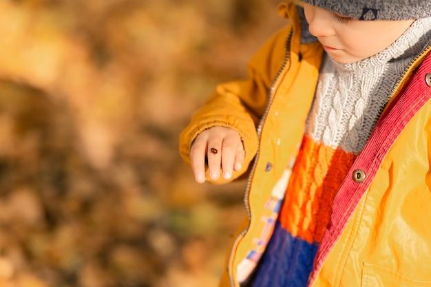 Ein kind freut sich, mit einem marienkäfer in einem herbstpark zu spielen. glückliche kindheit