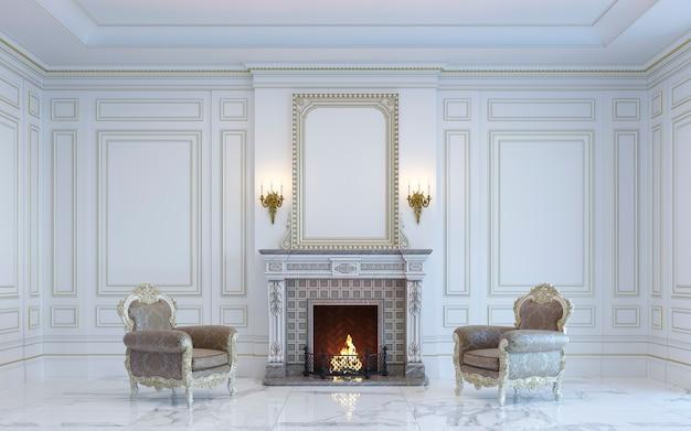Ein klassisches interieur ist in hellen tönen mit kamin. 3d-rendering.