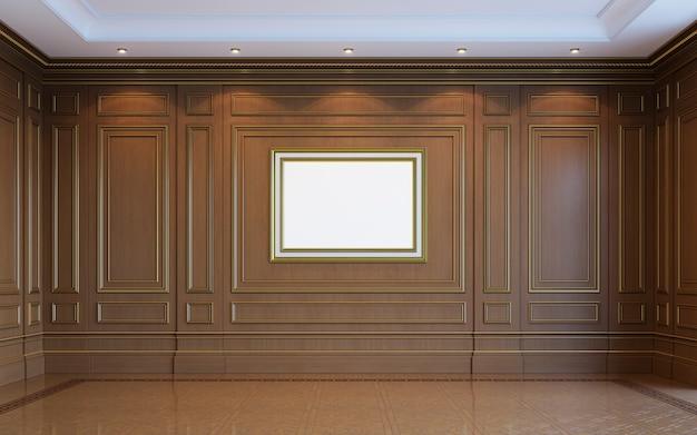 Ein klassisches interieur mit holzvertäfelung. 3d-rendering.