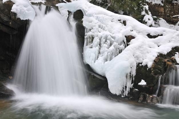 Ein kleiner aktiver wasserfall. sauberer gebirgsbach, verschneite winterlandschaft, wild lebende tiere