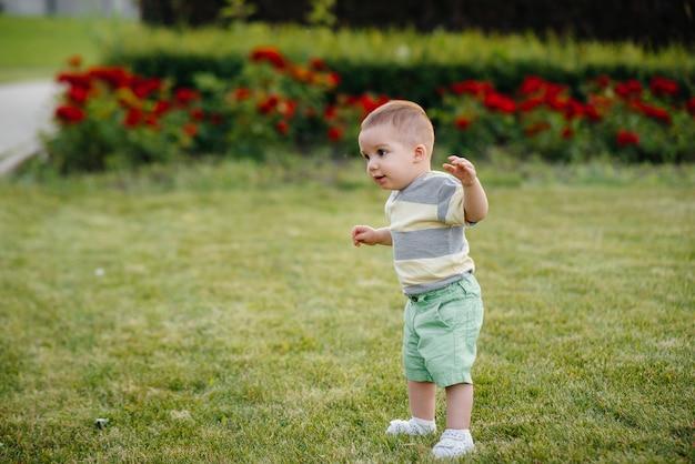 Ein kleiner junge lernt, auf dem grünen gras im park zu laufen. die ersten schritte eines süßen jungen.