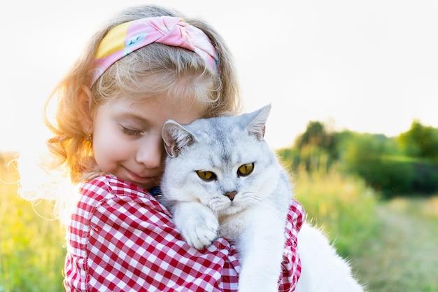 Ein kleines mädchen mit einer großen weißen schottischen katze mit geraden ohren im arm liebe zu tieren