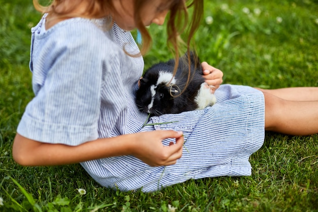 Ein kleines mädchen spielt mit dem schwarzen meerschweinchen, das im sommer draußen sitzt