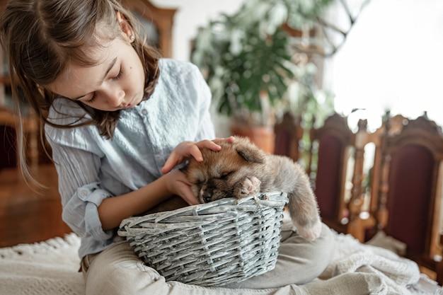 Ein kleines mädchen spielt mit ihrem kleinen und flauschigen welpen