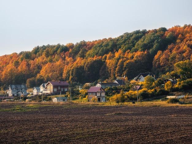 Ein kollektives bauernfeld mit ackerland vor den hütten in der nähe des grünen hügels. umweltfreundliches dorf.