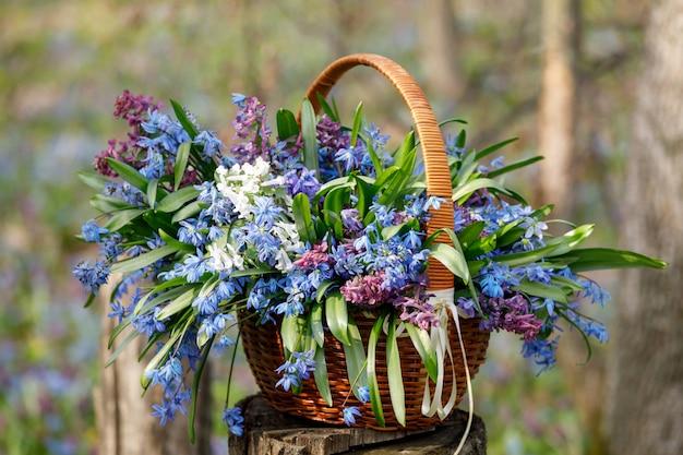 Ein korb mit bunten frühlingsblumen steht auf einem baumstumpf im wald