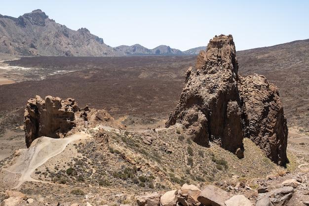 Ein krater im teide volcano national park. eine marsansicht