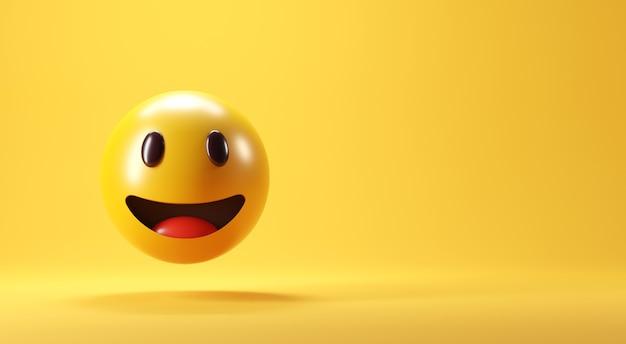 Ein lächelndes gesicht emoji mit lächeln auf gelbem hintergrund