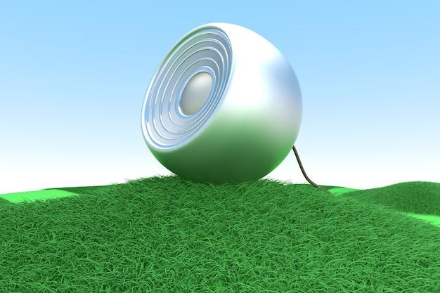Ein lautsprecher auf einem grünen hügel. 3d gerenderte illustration.