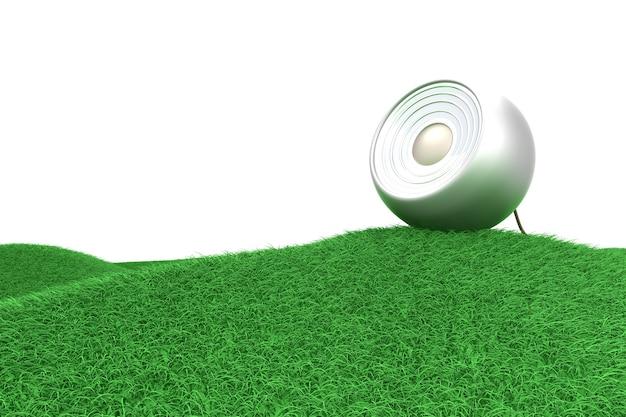 Ein lautsprecher auf einem grünen hügel.