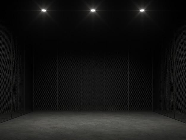 Ein leerer käfig im dunklen 3d-renderinges gibt einen polierten betonboden und eine schwarze stahlwand