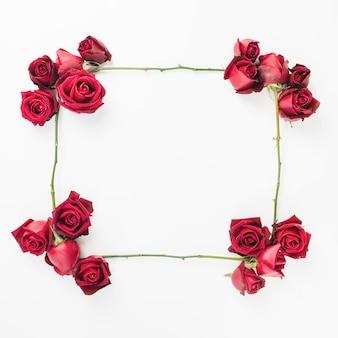 Ein leerer verzierter rahmen der roten rosen auf weißem hintergrund