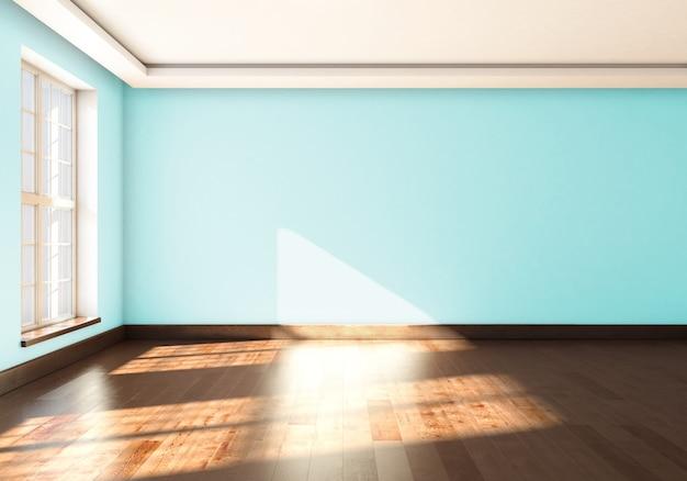 Ein leeres studio mit fenster und blauer wandfarbe. 3d-rendering.