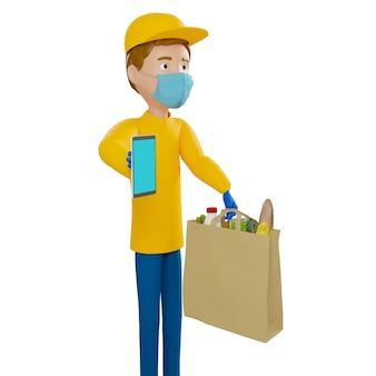 Ein lieferbote in einer gesichtsmaske hält eine tasche mit essen, obst, gemüse. postbote und expresszustellung von lebensmitteln. 3d-darstellung.