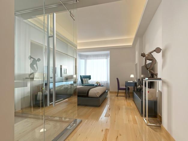 Ein luxuriöses hotelzimmer in zeitgenössischem design mit glas und durchsichtigem badezimmer. 3d-rendering.
