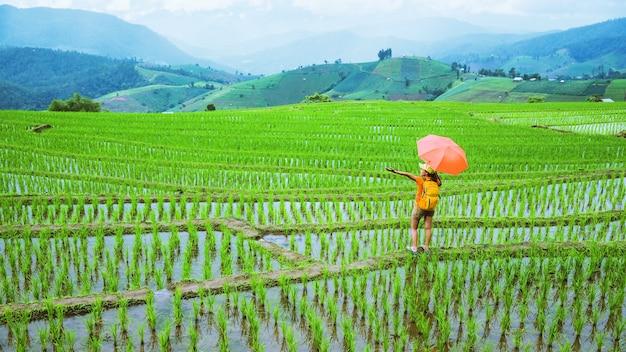 Ein mädchen mit einem rucksack zu fuß auf einem reisfeld, während er einen regenschirm in der hand hält. reisen in der regenzeit. reiserucksack