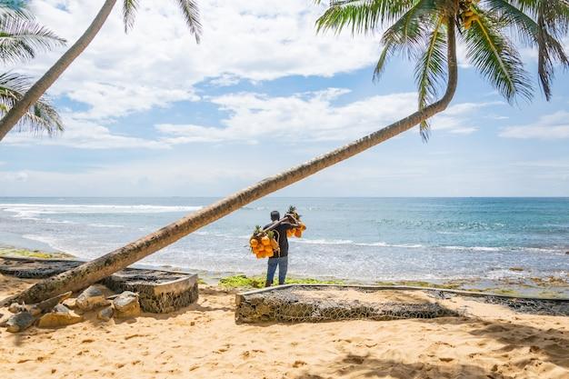 Ein mann, der kokosnüsse und ananas auf dem strand, hikkaduwa, sri lank verkauft