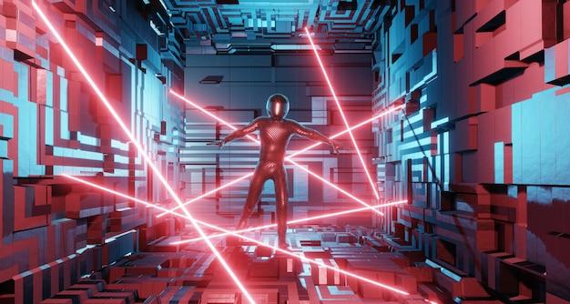 Ein mann im anzug eines motorradfahrers, ein astronaut in einem science-fiction-interieur geht per laserschutz
